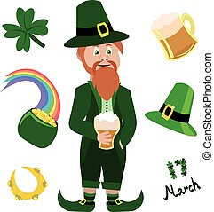 Set objects for St. Patrick's Day. Leprechaun, a pot of gold, beer.