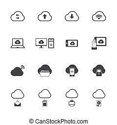 set., obliczanie, chmura, ikony