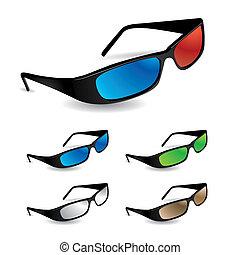set, occhiali da sole, 5, includere, visione, 3d