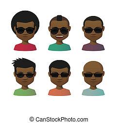 set, occhiali da sole, avatar, maschio, cartone animato