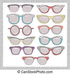 set., occhiali da sole, retro