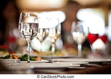 set, occhiali, vuoto, ristorante