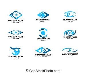 set, occhio, vettore, disegno, sagoma, logotipo