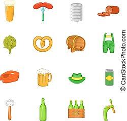set, octoberfest, stile, cartone animato, icone