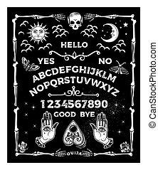 set., ocultismo, vector, illustration., ouija, tabla, skull.