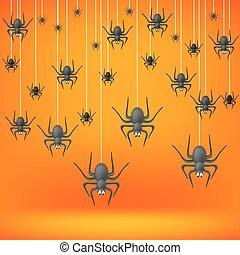 Set od Grey Spiders Fall Down on Soft Orange Background....