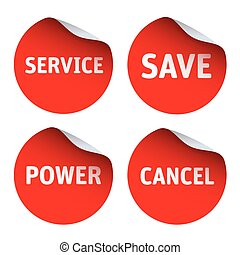 Set od Red stickers and text SERVICE, SAVE, POWER, CANCEL