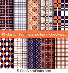Set of 10 classic seamless checkered patterns