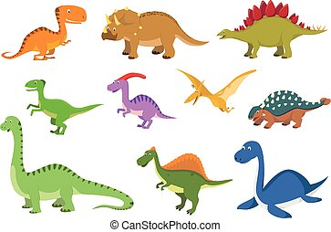 Set of 10 cute dinosaurs in cartoon style vector illustration