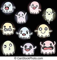 Set of 10 Cute Glowing Ghosts