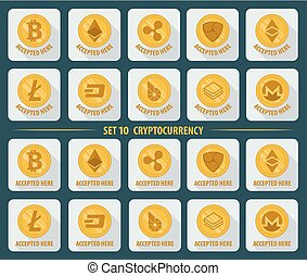 Set of 10 flat currency cryptocurrency on a white background