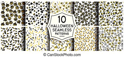 Set of 10 halloween seamless patterns.