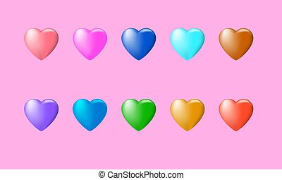Set of 10 heart-shaped balloons colored with gradient mesh. All balloons are easy recolorable.