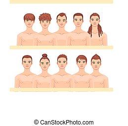 Set of 10 male haircuts. Vector