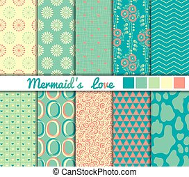 Set of 10 simple seamless patterns. Mermaids Love color palette.