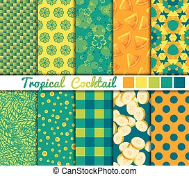 Set of 10 simple seamless patterns. Tropical Cocktail color palette.