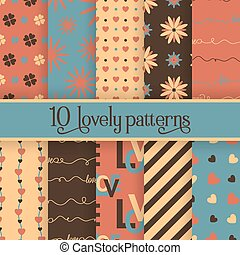 Set of 10 valentine's cute patterns. Vector seamless backgrounds for your design