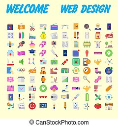 set of 100 flat style education icons, vector