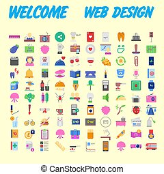 set of 100 high quality flat icons. Vector