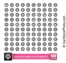 Set of 100 icon with background for web and mobile smart phone ui element vector illustration 002