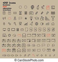 Set of 100 Minimal Modern Thin Stroke Black Icons