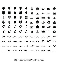 set of 100 Silhouettes of heraldic design elements.Medieval crown.Shield.ribbon