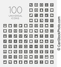 Set of 100 universal icons of business, science, health, securit