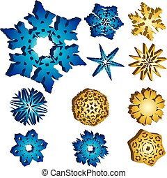 Set of 11 3D Snowflakes