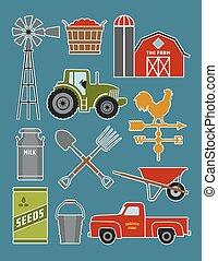 Set of 11 detailed farm icon illustrations.