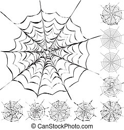 Set of 11 different spiderwebs isolated on white, easy to print, vector illustration