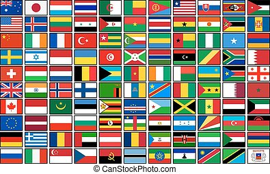 Set of 110 country flags