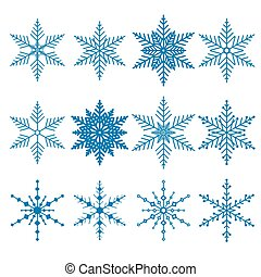 Set of 12 blue vector snowflakes