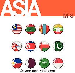 Set of 12 bottle cap flags of Asia (M-S). Set 3 of 4. Vector Illustration.