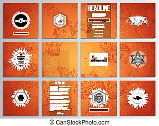 Set of 12 creative cards, square brochure template design. Chinese new year background. Floral design with red monkeys, vector illustration
