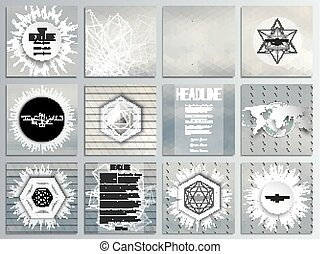 Set of 12 creative cards, square brochure template design. Gray cloudy sky. Abstract multicolored backgrounds. Natural geometrical patterns. Triangular and hexagonal style vector illustration