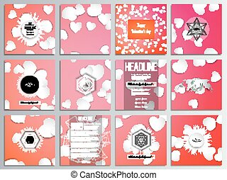 Set of 12 creative cards, square brochure template design. White paper hearts, red vector background, Valentines day decoration