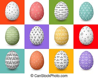Set of 12 Easter white and colored festive decorated eggs with simple abstract patterns and flourishes