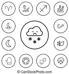 Set Of 12 Editable Air Outline Icons. Includes Symbols Such As Glove, Rain, Male And More. Can Be Used For Web, Mobile, UI And Infographic Design.