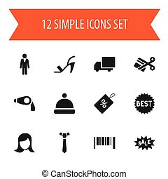 Set Of 12 Editable Business Icons. Includes Symbols Such As Badge, Heel Cothurnus, Striped And More. Can Be Used For Web, Mobile, UI And Infographic Design.