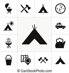 Set Of 12 Editable Camping Icons. Includes Symbols Such As...