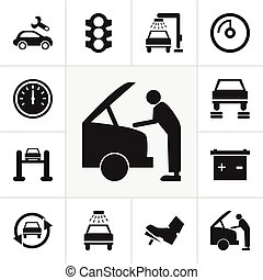 Set Of 12 Editable Car Icons. Includes Symbols Such As ...