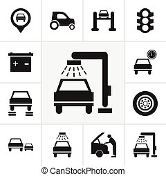 Set Of 12 Editable Car Icons. Includes Symbols Such As Transport Clean, Accumulator, Automobile And More. Can Be Used For Web, Mobile, UI And Infographic Design.