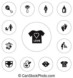 Set Of 12 Editable Child Icons. Includes Symbols Such As Rattle, Footmark, Pregnancy And More. Can Be Used For Web, Mobile, UI And Infographic Design.