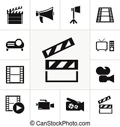 Set Of 12 Editable Cinema Icons. Includes Symbols Such As Camera Strip, Presentation, Video Camera And More. Can Be Used For Web, Mobile, UI And Infographic Design.