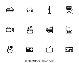 Set Of 12 Editable Cinema Icons. Includes Symbols Such As Oscar, Show, Shooting Seat And More. Can Be Used For Web, Mobile, UI And Infographic Design.