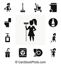 Set Of 12 Editable Cleaning Icons. Includes Symbols Such As Plate, Restroom, Working At Home And More. Can Be Used For Web, Mobile, UI And Infographic Design.