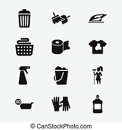 Set Of 12 Editable Cleaning Icons. Includes Symbols Such As...