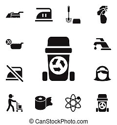 Set Of 12 Editable Cleanup Icons. Includes Symbols Such As Wc Cleaning, Warning, Rubbish Container And More. Can Be Used For Web, Mobile, UI And Infographic Design.