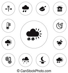 Set Of 12 Editable Climate Icons. Includes Symbols Such As Rainstorm, Home, Snow Granule And More. Can Be Used For Web, Mobile, UI And Infographic Design.