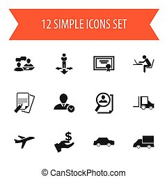 Set Of 12 Editable Complex Icons. Includes Symbols Such As Finding Solution, Camion, Van And More. Can Be Used For Web, Mobile, UI And Infographic Design.